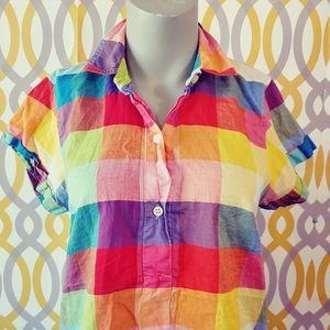 J CREW Button Front Plaid Multicolor Shirt Small
